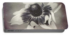 Coneflower In Monochrome Portable Battery Charger