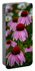Coneflowers In Front Of Daisies Portable Battery Charger