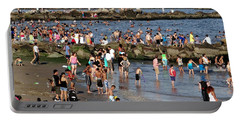 Portable Battery Charger featuring the photograph Coney Island Rocks by Ed Weidman