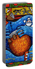Portable Battery Charger featuring the painting Conga On Fire by Oscar Ortiz