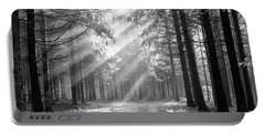 Coniferous Forest In Early Morning Portable Battery Charger