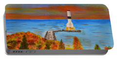 Fall, Conneaut Ohio Light House Portable Battery Charger by Melvin Turner