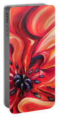 Portable Battery Charger featuring the painting Consuming Fire by Meaghan Troup