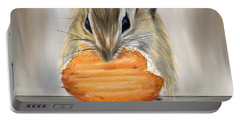 Cookie Time- Squirrel Eating A Cookie Portable Battery Charger by Lourry Legarde