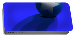Portable Battery Charger featuring the digital art Blue Ball Decorated With Star Grass Blue Background by R Muirhead Art