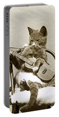 Portable Battery Charger featuring the photograph Cool Cat Playing A Guitar Circa 1900 Historical Photo By Photo  Henry King Nourse by California Views Mr Pat Hathaway Archives