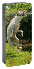 Portable Battery Charger featuring the digital art Cool Dog by Ron Harpham