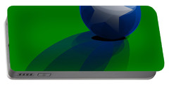 Portable Battery Charger featuring the digital art Blue Ball Decorated With Star Grass Green Background by R Muirhead Art