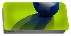 Portable Battery Charger featuring the digital art Blue Ball Decorated With Star Green Background by R Muirhead Art