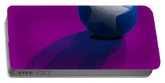 Portable Battery Charger featuring the digital art Blue Ball Decorated With Star Purple Background by R Muirhead Art