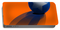 Portable Battery Charger featuring the digital art Blue Ball Decorated With Star Orange Background by R Muirhead Art