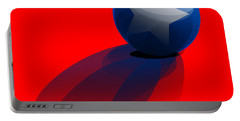Portable Battery Charger featuring the digital art Blue Ball Decorated With Star Red Background by R Muirhead Art