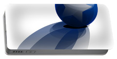 Portable Battery Charger featuring the digital art Blue Ball Decorated With Star Grass White Background by R Muirhead Art