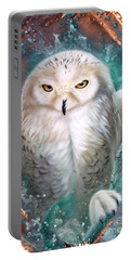 Copper Snowy Owl Portable Battery Charger by Sandi Baker