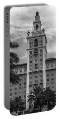 Coral Gables Biltmore Hotel In Black And White Portable Battery Charger