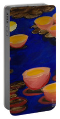 Coral Lily Pond Portable Battery Charger by Anita Lewis