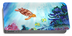 Portable Battery Charger featuring the painting Coral Reef by Donna Walsh