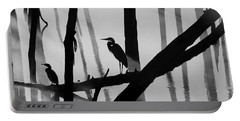 Cormorant And The Heron  Bw Portable Battery Charger by Roger Becker