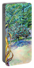 Corn Stalk And Apple Tree  Autumn Lovers Portable Battery Charger by Asha Carolyn Young