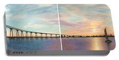 Coronado Bridge Sunset Diptych Portable Battery Charger