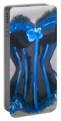 Portable Battery Charger featuring the painting Corset Blue Lace by Marisela Mungia