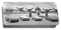Corvettes And B17 Bomber -0027bw2 Portable Battery Charger