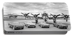 Corvettes And B17 Bomber -0027bw45 Portable Battery Charger