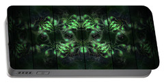 Cosmic Alien Eyes Green Portable Battery Charger by Shawn Dall