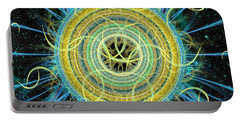 Portable Battery Charger featuring the digital art Cosmic Circle Fusion by Shawn Dall