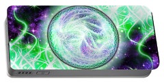 Portable Battery Charger featuring the digital art Cosmic Lifestream by Shawn Dall