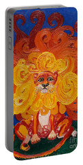Portable Battery Charger featuring the painting Cosmic Lion by Cassandra Buckley