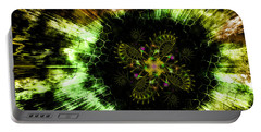 Portable Battery Charger featuring the digital art Cosmic Solar Flower Fern Flare by Shawn Dall