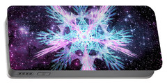 Portable Battery Charger featuring the digital art Cosmic Starflower by Shawn Dall