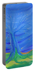 Portable Battery Charger featuring the painting Cosmic Tree by First Star Art