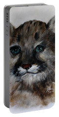 Portable Battery Charger featuring the painting Antares - Cougar Cub by Barbie Batson