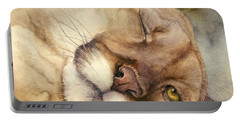 Portable Battery Charger featuring the painting Cougar    I See You     by Bonnie Rinier