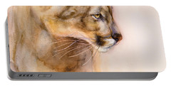 Portable Battery Charger featuring the painting Cougar On The Prowl by Bonnie Rinier