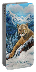 Portable Battery Charger featuring the painting Cougar Sedona Red Rocks  by Bob and Nadine Johnston