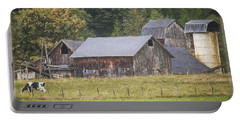 Portable Battery Charger featuring the painting Country Art - Rustic Old Barns With Cow In The Pasture by Jordan Blackstone