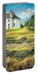 Portable Battery Charger featuring the photograph Country Church With Hay by Silvia Ganora