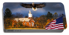 country Eagle Church Flag Patriotic Portable Battery Charger by Randall Branham