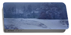 Portable Battery Charger featuring the photograph Country Snowstorm Landscape Art Prints by Valerie Garner