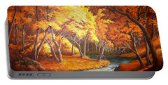 Country Stream In The Fall Portable Battery Charger
