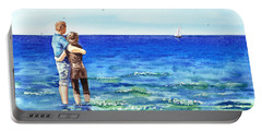 Couple And The Sea Portable Battery Charger