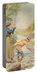 Couple Fishing On A River Portable Battery Charger
