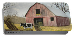 Portable Battery Charger featuring the painting Cow And Barn by Norm Starks