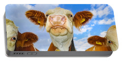 Cow Looking At You - Funny Animal Picture Portable Battery Charger