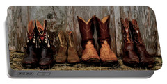Cowboy Boots And Wood Portable Battery Charger