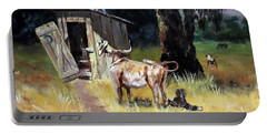 Cowboy On The Outhouse  Portable Battery Charger