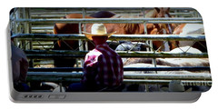 Cowboys Corral Portable Battery Charger by Susan Garren